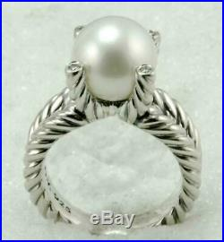 Solid 925 Sterling Silver David Yurman CZ Cable Wrap Pearl Women's Gorgeous Ring