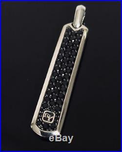Solid 925 Sterling Silver David Yurman Dog Tag Back Diamond Studded Pendant