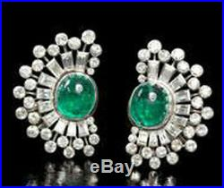 Solid 925 Sterling Silver Green Oval Baguette Half Sun Style Stud Earring