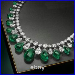 Solid 925 Sterling Silver Green White Pear Wedding Necklace Jewelry Women Gift