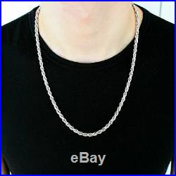 Solid 925 Sterling Silver Italian Rope Chain Mens Necklace 5.00mm Diamond Cut