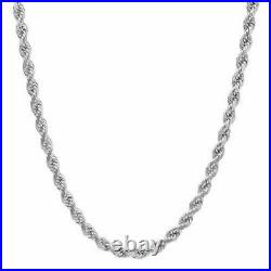 Solid 925 Sterling Silver Italian Rope Chain Mens Necklace 5mm Diamond Cut