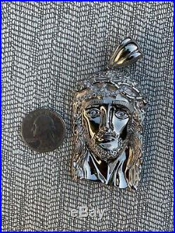 Solid 925 Sterling Silver Jesus Piece ITALY Handmade Necklace Fully Iced Diamond