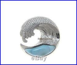 Solid 925 Sterling Silver Larimar Hawaiian Ocean Wave Pendant Bling Cz 29.50mm