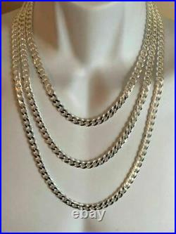 Solid 925 Sterling Silver Men's 8mm Thick Miami Cuban Link Chain Heavy ITALY