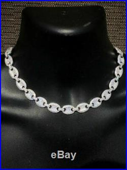 Solid 925 Sterling Silver Men's Gucci Link Choker Chain 18 20 20ct Lab Diamond