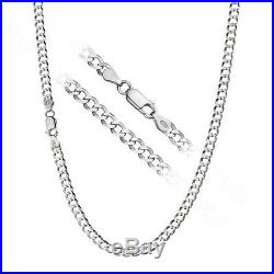 Solid 925 Sterling Silver Men's Heavy Italian 8mm Cuban Curb Link Chain Necklace
