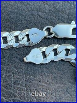 Solid 925 Sterling Silver Men's Miami Cuban Link Chain Necklace 8mm Diamond Cut