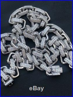 Solid 925 Sterling Silver Men's Rolo Link Choker Chain 18 20 10ct Lab Diamond