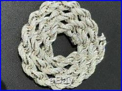 Solid 925 Sterling Silver Men's Rope Chain 18 Choker 40ct Lab Diamonds ICY