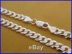 Solid 925 Sterling Silver Mens 7mm PAVE Cuban Curb Link Chain Necklace