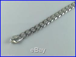 Solid 925 Sterling Silver Mens Flat Curb Chain Necklaces Italian Style HEAVY NEW