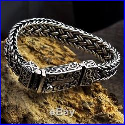 Solid 925 Sterling Silver Mens Heavy Chain Clasp Buckle Wristband Cuff Bracelet