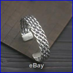 Solid 925 Sterling Silver Mens Heavy Open Knitted Torque Bangle Cuff Bracelet