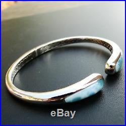 Solid 925 Sterling Silver Natural Larimar Dominican Gemstones Bangle Bracelet