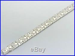 Solid 925 Sterling Silver Nugget Bracelet Adjustable 8.5 12.5mm 30 grams