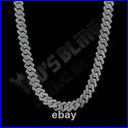 Solid. 925 Sterling Silver Out Iced Lab Diamond Prong Set 14mm Cuban Link Chain