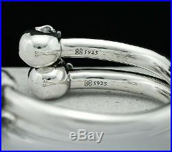 Solid 925 Sterling Silver Skull Bangle Cuff Bracelet Gothic Biker Rock Heavy
