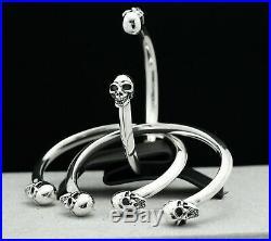 Solid 925 Sterling Silver Skull Cuff Bangle Bracelet Gothic Biker Rock Style