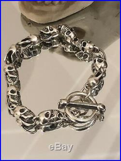 Solid 925 Sterling Silver Skull Heads Biker Bracelet Chain 51g UK STOCK