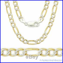 Solid 925 Sterling Silver and 14k Yellow Gold Figaro 5.2mm Men's Necklace Italy