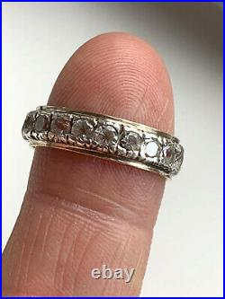 Solid 9ct Gold & Sterling Silver Spinel Set Full Eternity Ring Size O 1/2