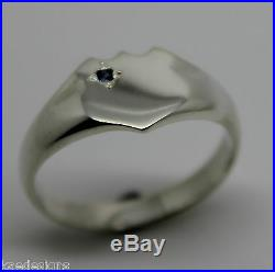 Solid Genuine Large Mens Sterling Silver Shield Australian Sapphire Signet Ring