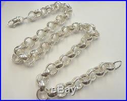 Solid Heavy Sterling Silver Plain & Patterned Belcher Chain 22- 88 grams
