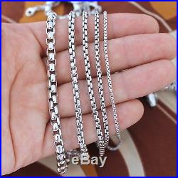 Solid Rhodium Sterling Silver Round Box Chain Necklace