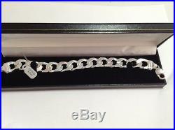 Solid Silver Chunky English Hallmark Brand New Mens Bracelet 82 Grams 9 Inch