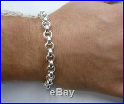 Solid Sterling Silver. 925 Patterned Belcher Bracelet 21 Grams G1165