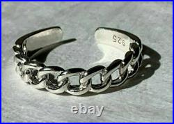 Solid Sterling Silver 925 Toe Ring Chain Link Adjustable 10k White Gold Over