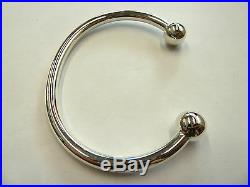 Solid Sterling Silver. 925 Torque Bangle 43 grams 10mm balls Heavy