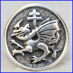 Solid Sterling Silver 925 Vlad Dracula's Order of the Dragon Handmade 3D Ring