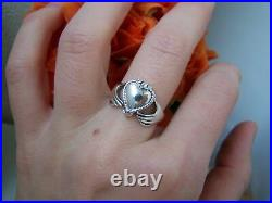 Solid Sterling Silver Claddagh Gimmel Betrothal Heart Locket Poison Ring Size L