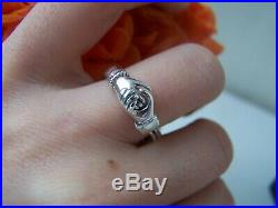 Solid Sterling Silver Claddagh Gimmel Betrothal Ring Clasped Hands Heart Size P