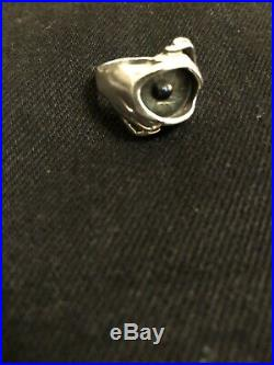 Solid Sterling Silver Eye Ring Like (great Frog) Biker, Gothic Punk