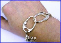 Solid Sterling Silver Handmade Large Keith Richards Handcuff Bracelet 65-70g