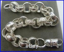 Solid Sterling Silver Heavy Plain & Patterned 9 Belcher Bracelet 35 g -13mm