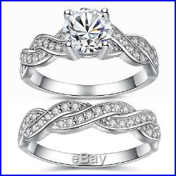 Solid Sterling Silver Infinity Women's Wedding Engagement Bridal Ring Band Set