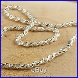 Solid Sterling Silver Italian Diamond Cut Rope Chain Men's 925 Necklace 4mm 24'