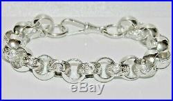 Solid Sterling Silver Men's Belcher Bracelet Heavy & Chunky 9.5 inch length