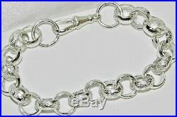 Solid Sterling Silver Men's Belcher Bracelet pattern & plain link 9 inch