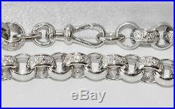 Solid Sterling Silver Men's Heavy Belcher Bracelet Stone Set 8.5 inch