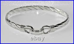 Solid Sterling Silver Men's / Ladies Heavy Hook Bangle