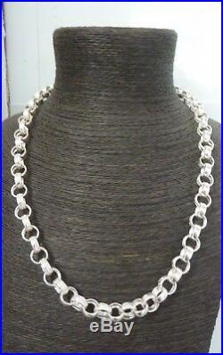 Solid Sterling Silver Plain & Patterned Belcher Chain 26- 82 grams Heavy