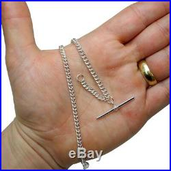 Solid Sterling Silver Pocket Watch Curb Albert Chain Fob. 925 FA46
