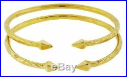 Solid Sterling Silver West-Indian Bangle Set Plated with 14K Gold 35 Grams