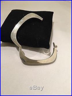 Solid Vintage Mexican Modernist Unique Sterling Silver 925 Bangle Bracelet Cuff