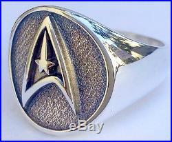 Star Trek Symbol Star Wars Solid Sterling Silver 925 3D Ring
